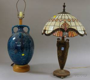 Mottled Blue Glazed Earthenware BottleTable Lamp Base and a Patinated Cast Metal Table Lamp with Leaded Art Glass Dome Shade