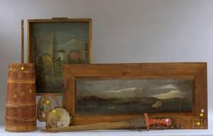 Two Folk Art Painted Landscape Decorated Wood Panels Swordfish Bill Sword Paint Decorated Tambourine Artists Palette Wooden Barrel