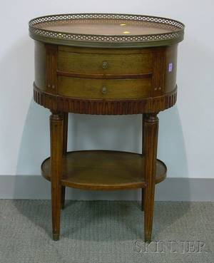 Louis XVI Style Oval Walnut TwoDrawer Stand with Brass Gallery