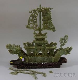 Asian Carved Green Hardstone Dragon Ship