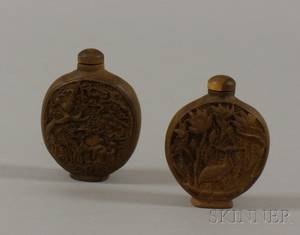 Two Asian Carved Wood Snuff Bottles