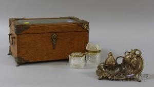Late Victorian Brassmounted Oak and Beveled Glass Jewel Casket an Art Nouveau Silvered Metal Figural Inkwell