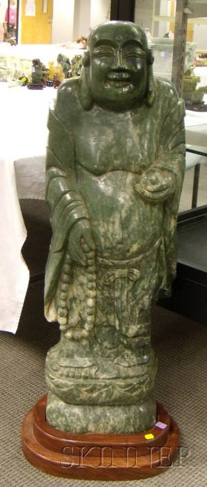 Large Asian Carved Hardstone Carving of a Standing Buddha