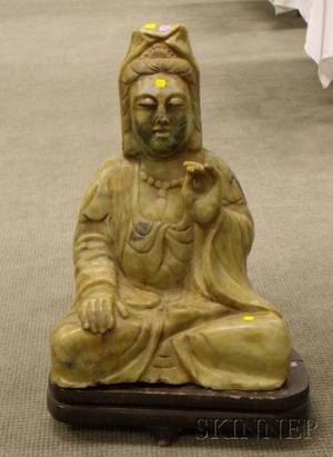 Large Asian Carved Hardstone Figure of a Seated Kuan Yin