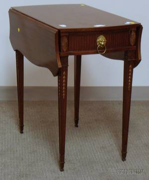 George III Style Carved Mahogany and Mahogany Veneer Dropleaf Table with Drawer
