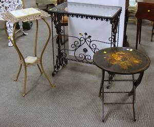 Victorian Onyxtop Brass Stand a Blackpainted Iron Table and a Painted Floral Decorated Wooden Folding Stand