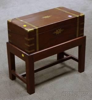 Brassbound Mahogany Lap Desk on Stand