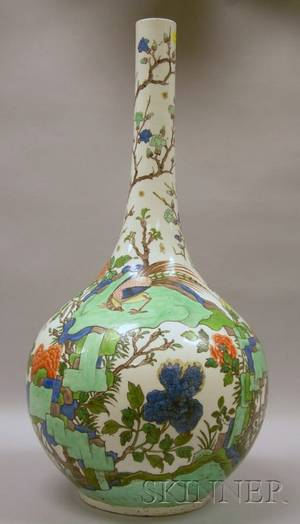 Large Chinese Enamel Decorated Porcelain Bottleform Vase