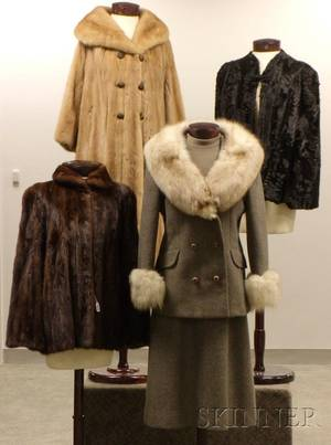 Three Vintage Fur CoatsCapes and a Vintage FoxTrimmed Gray Wool Suit