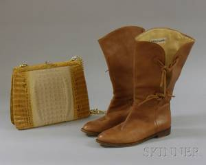 Pair of Vintage Manolo Blahnik Lowheeled Tan Leather Boots and a Vintage Bleached Alligator Handbag
