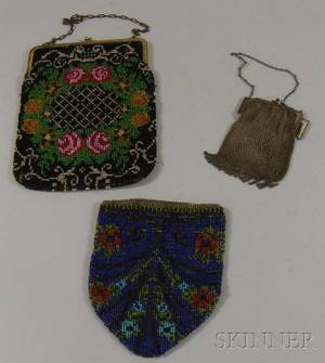 Two Beaded Purses and a Mesh Whiting Davis Purse