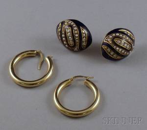 Pair of 14kt Gold Hoops and a Pair of 14kt Gold Enamel Seed Pearl and Diamond Earclips