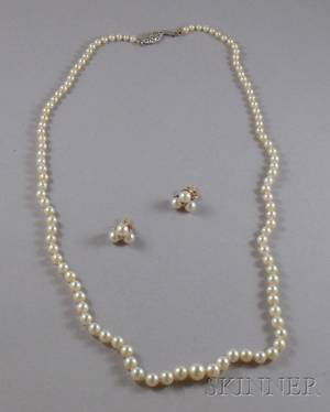 Graduated Pearl Necklace and a Pair of Pearl and Diamond Earrings