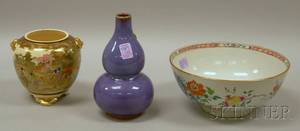 Chinese Export Porcelain Footed Bowl an Asian Glazed Ceramic DoubleGourd Vase and a Japanese Satsuma Footed Jar