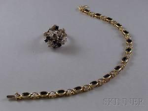 14kt Yellow Gold Diamond and Sapphire Bracelet and a 14kt White Gold Diamond and Sapphire Cocktail Ring
