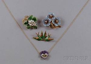 Four Art Nouveau 14kt Gold and Enamel Jewelry Items