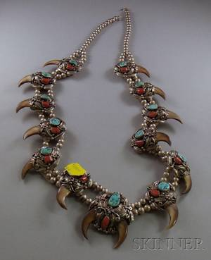 American Indian Sterling Silver Bear Claw and Turquoise Necklace