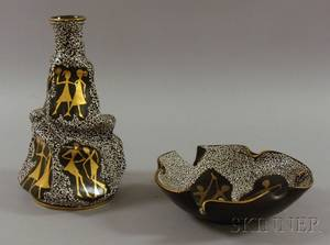 Italian Modern Gilt and Enamel Decorated Pottery Bottleform Vase and Bowl