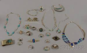 Assortment of Sterling Silver Native American Style and Contemporary Jewelry