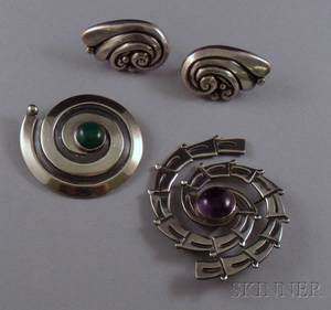 Vintage Pair of Margot de Taxco Sterling Silver Earclips and Two Maricela Sterling Silver and Stone BroochesD