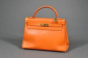 Orange Leather Kelly Handbag Hermes