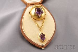 Antique 18kt Gold Amethyst and Diamond Brooch France