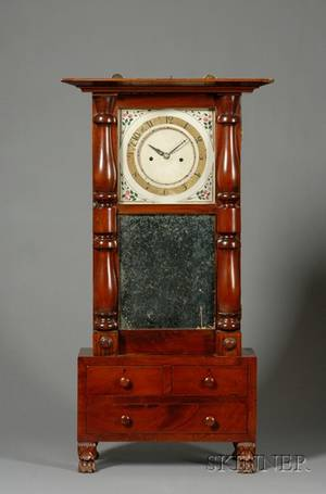 Mahogany Shelf Clock by Abner Jones