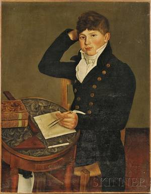 Possibly American School Early 19th Century Portrait of a Young Man Seated at a Table Sketching with a Compass