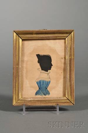 Silhouette Portrait of a Woman in a Blue Dress