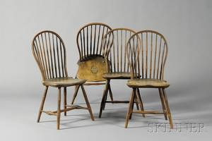 Set of Four Pine Maple and Hickory Painted Bowback Windsor Side Chairs