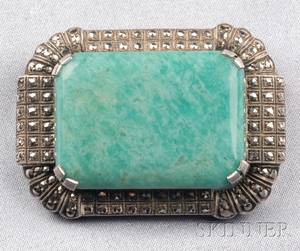 Art Deco Sterling Silver Amazonite and Marcasite Brooch Theodor Fahrner