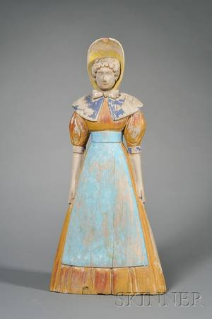 Carved and Polychrome Painted Trade Sign Figure of a Lady