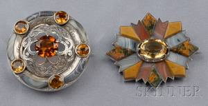 Two Victorian Silver Scottish Agate and Citrine Brooches