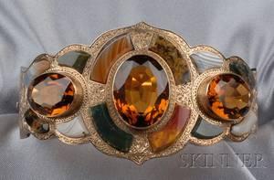 Victorian Scottish Agate and Citrine Bracelet
