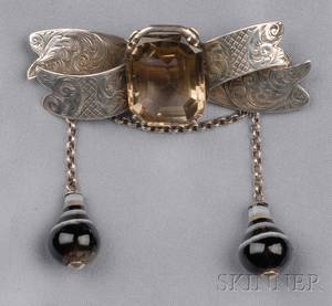 Victorian Sterling Silver Smoky Quartz and Agate Safety Brooch