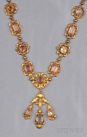 Antique 14kt Gold and Topaz Necklace