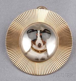 14kt Gold Reverse Crystal Doggy PendantBrooch