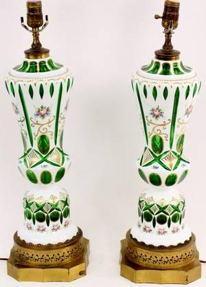Pair of Floral Decorated and Emerald Glass Cased Lamps