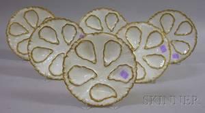 Set of Six Haviland Limoges Porcelain Oyster Plates