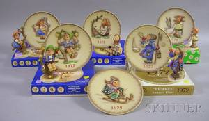 Set of Five Hummel Ceramic Figures and Matching Commemorative Plates