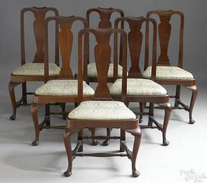 Set of 6 Massachusetts Queen Anne style dining chairs late 19th c