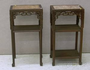 Pair of Chinese Export Marbleinset Carved Hardwood Stands