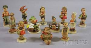 Twelve Hummel and Goebel Ceramic Figures