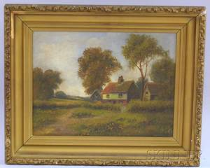 Framed Oil on Canvas Country Landscape with Cottage