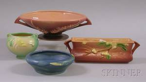 Three Pieces of Roseville Pottery and an Ohio Glazed Art Pottery Low Bowl