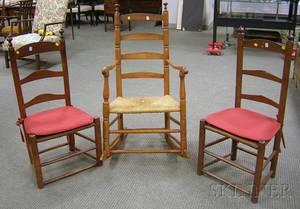 Two Ladderback Side Chairs and a Ladderback Armrocker