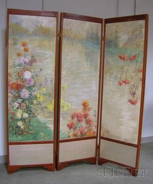 Modern Mahogany Framed ThreePanel Floor Screen