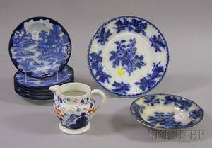 Flow Blue Transfer Plate and Soup Bowl a Set of Six Japanese Transfer Blue and White Porcelain Plates and a G
