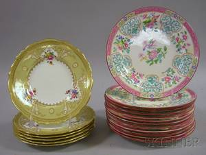 Set of Six Cauldon Porcelain Dessert Plates and a Set of Twelve Mintons Enameled Asianstyle Decorated Porcelain Luncheon Plates