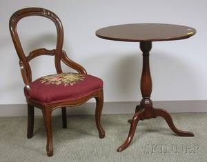 Victorian Rococo Revival Needlepoint Upholstered Carved Walnut Parlor Side Chair and a Federalstyle Mahogany T